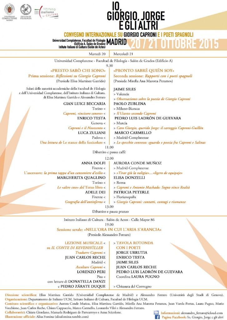 CONVEGNO CAPRONI 2015 MADRID PROGRAMMA